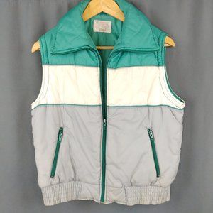 Vtg 80s Puffer Vest Zip Pockets Medium